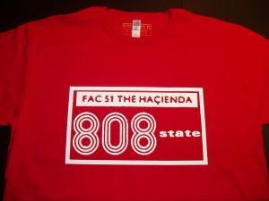 MENS RETRO RAVE `HACIENDA FAC 51 808 STATE` T-SHIRT